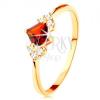 Csillogó gyűrű 14K sárga aranyból - piros négyzet gránát, átlátszó cirkóniák
