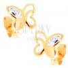 14K sárga arany fülbevaló - pillangó díszes vágatokkal és átlátszó cirkóniákkal