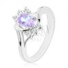 Gyűrű ezüst árnyalatban, világoslila ovális, fényes ívek, átlátszó cirkóniák