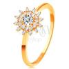 14K sárga arany gyűrű - átlátszó cirkóniás nap, vékony fényes szárak