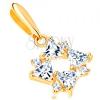 585 arany medál - átlátszó cirkónia háromszög és apró kerek cirkóniák