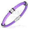 Fonott PVC karkötő - acél karikák, lila színű