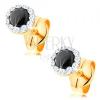 585 arany fülbevaló - kerek fekete színű zafír, átlátszó Swarovski kristályok
