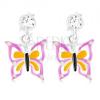 Stekkeres 95 ezüst fülbevaló Swarovski kristállyal, lilás sárga és kék pillangó