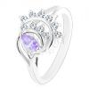 Fényes gyűrű, átlátszó cirkóniákkal szegélyezett ívek, halvány lila búzaszem