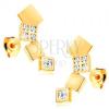 14K sárga arany fülbevaló - csillogó négyzetek ívelt vonalban, beszúrós