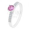 Csillogó gyűrű 925 ezüstből, kerek lila árnyalatú cirkónia, kettős vonal