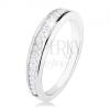 925 ezüst gyűrű, fényes szárak, vízszintes átlátszó cirkóniás vonal