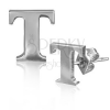 Fülbevaló acélból - fényes T betű forma