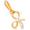 14K sárga arany medál - fénylő masni, átlátszó cirkóniás sáv