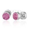 Hamis fültágító piercing - rózsaszín cirkóniák, egy pár