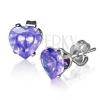 Beszúrós fülbevaló ezüst színű acélból, lila cirkóniás szív, 7 mm