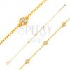 585 arany karkötő ovális szemekből három csillogó karikával