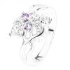 Csillogó gyűrű, ezüst szín, masni világoslila és átlátszó cirkóniákból