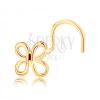 585 arany hajlított orr piercing - fényes pillangó körvonal