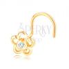 14K sárga arany orrpiercing - virágkörvonal átlátszó cirkóniával a közepében