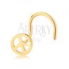 585 arany piercing, hajlított - kerek béke jel, fényes felület