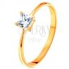 14K sárga arany gyűrű - kiemelkedő négyzet cirkónia, vékony sima szárak