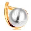 Medál 585 sárga aranyból - hullámos könnycsepp körvonal kerek, fehér gyönggyel