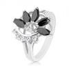 Csillogó gyűrű ezüst árnyalatban, átlátszó cirkóniás ív, fekete nem teljes virág