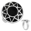 Gyűrű acélból - ezüst színű nap fekete körben