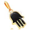 14K arany medál - Hamsa keze fekete fénymázzal
