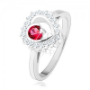 925 ezüst gyűrű, ródiumozott, átlátszó cirkóniás szegély, kör alakú rózsaszín cirkónia