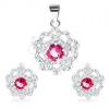 925 ezüst szett - medál és fülbevaló, átlátszó virág pirosas rózsaszín középpel