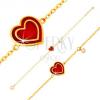 Karkötő 14K sárga aranyból, medál - szív piros fénymázzal, cirkónia