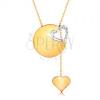 585 arany nyakék - vékony lánc, fényes felületű kör, szív körvonal fehér aranyból