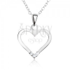 Állítható nyakék - 925 ezüst, medál szívkörvonallal, átlátszó cirkóniák