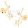 585 arany fülbevaló - szűk pálcika és félhold átlátszó cirkóniákkal díszítve