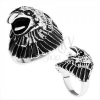 Masszív gyűrű 316L acélból, patináns sasfej, fényes szárak