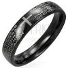 Fekete gyűrű sebészeti acélból - kereszt és ima