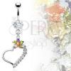 Luxus köldökpiercing - kis színes virág és szív