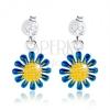 Beszúrós fülbevaló, 925 ezüst, függő virág sárga-kék színben, átlátszó cirkónia