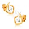 375 arany ródiumozott fülbevaló - egyenetlen készínű négyzet, cirkónia