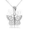925 ezüst nyakék, csillogó pillangó filigrán szárnyakkal