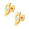 Fülbevaló 9K sárga aranyból - hullámos vonal átlátszó kővel a közepében