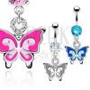 Köves köldök piercing - kétszínű pillangó