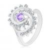 Csillogó gyűrű díszített csavart mintával és átlátszó szegéllyel, világoslila cirkónia