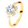 585 arany gyűrű - csillogó csiszolt négyzet, apró átlátszó cirkóniák