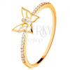 14K sárga arany gyűrű - csillogó sávok, fehér fénymázas pillangó