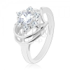 Fénylő gyűrű ezüst színben, kör alakú átlátszó cirkóniák