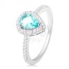 925 ezüst gyűrű, csepp világoskék színben ás átlátszó cirkóniás szegéllyel