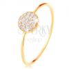 585 arany gyűrű - vékony fényes szárak, karika cirkóniákkal kirakva