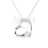 925 ezüst nyakék - egyenetlen szív kontúr, kerek, átlátszó cirkónia