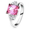 Csillogó gyűrű ezüst árnyalatban, téglalap cirkónia rózsaszínben