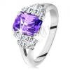 Csillogó gyűrű ezüst színben, lila cirkónia, osztott szárak