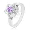 Csillogó gyűrű ezüst árnyalatban, lila-átlátszó cirkóniás virág